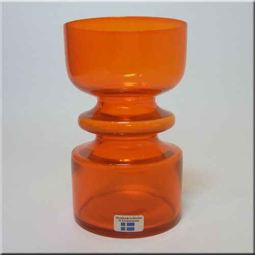 Lindshammar 1970's Swedish Orange Glass Vase