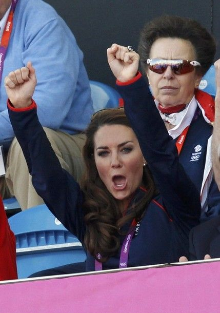 Kate cheering on Great Britain who triumphed with a score of four goals to one.
