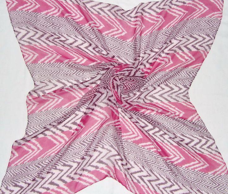Vintage Carnaval de Venise Chevron Zig Zag Geometric Pink Burgundy Silk 35 Scarf | eBay