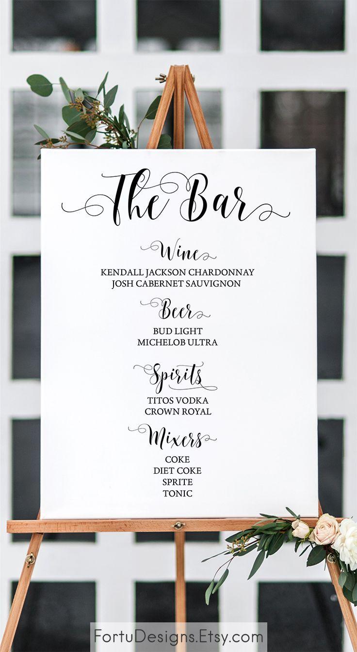 Wedding bar sign - Bar menu sign - Printable Wedding bar decor. SHOP now at FortuDesigns.Etsy.com CLICK to find out more =>>>> #weddingbar #barsign #bar