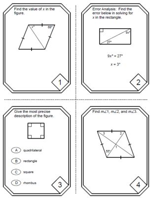 special parallelograms task cards rectangle square rhombus 20 cards from mariedompierre on. Black Bedroom Furniture Sets. Home Design Ideas