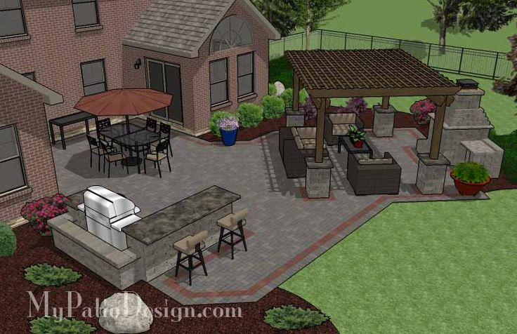 Large Brick Patio Design with 12 x 16 Cedar Pergola, Outdoor Fireplace and Grill Station with Attached Bar.   Plan No. 1150rr   Download Installation Plan at MyPatioDesign.com