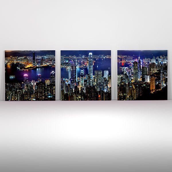 Ουρανοξύστες τρίπτυχος πίνακας σε καμβά