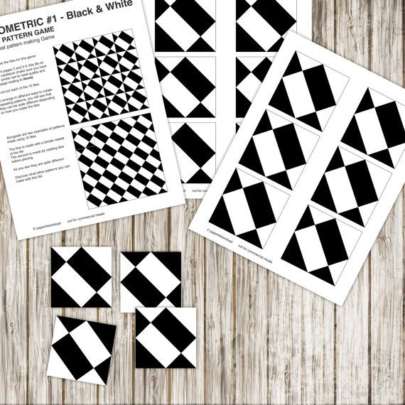 Pattern Repeat Tile Game  Geometric 1  black and by paper4download