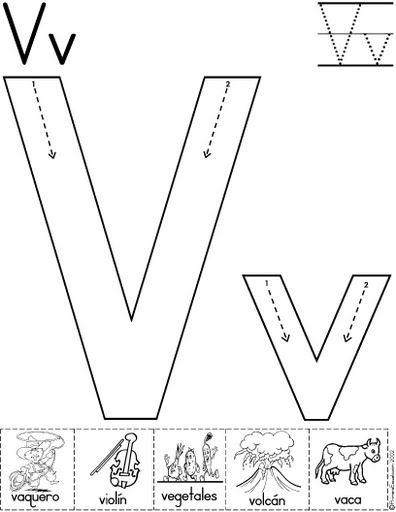 letra v fichas del abecedario y el alfabeto para descargar gratis para imprimir de niños
