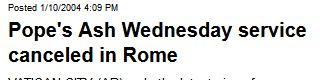 USATODAY.com - Pope's Ash Wednesday service canceled in Rome