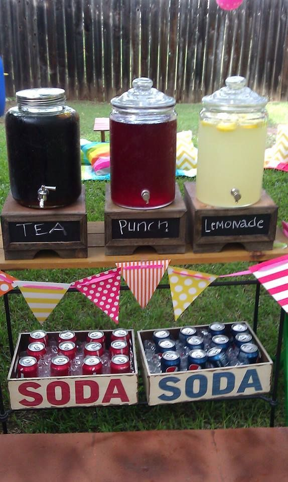 drink set up at grad party, cute idea! & I like the banners...school colors would be pretty in, in different patterns!