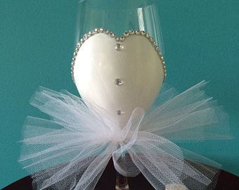 Bride Wine Glass with Rhinestones, Original Tulle Skirt Glass, Gift for the Bride, Bridal Shower, Wedding, Engagement Gift. Patent Pending