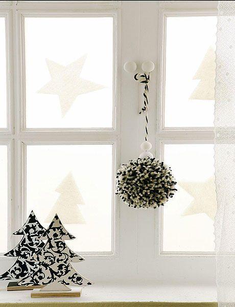 Ventanas y cortinas navide as adornos navide os para la - Decoracion navidena de casas ...
