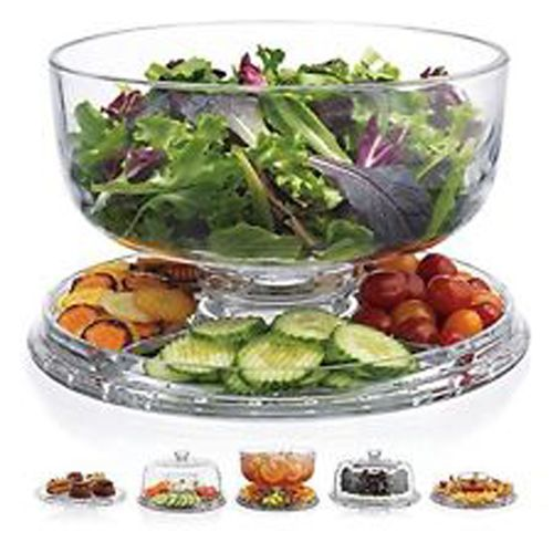 This cake dome by Home Essentials is the perfect platter for almost any snack display. It reverses to a four compartment tray with an attached bowl. When combining the dome lid and plate in different