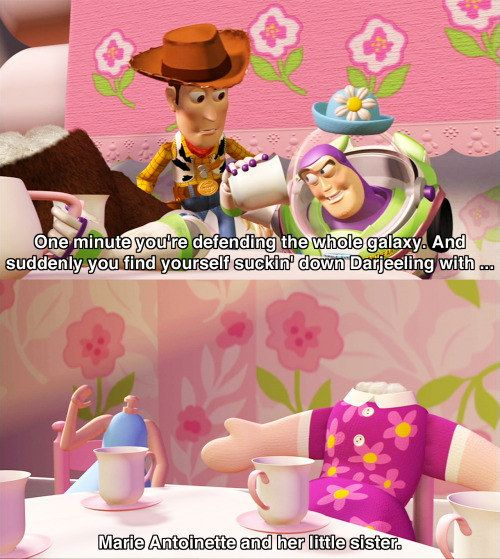"And explains the new, strange experiences he's had as Mrs. Nesbitt. | 23 Hilarious ""Toy Story"" Moments That'll Make You Laugh Every Time"
