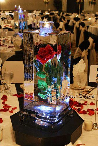 Rose Cube Ice Sculpture _Ice Sculpture _Wedding _Events _Centerpieces