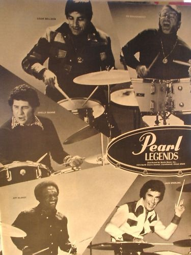 """1975 Pearl Drums (Legends) advertisement featuring """"the legends of the Pearl drums, Art Blakey, Louie Bellson, Shelly Manne, Ed Shaughnessy, Jack Sperling"""""""