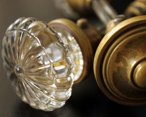 Door Knobs  Antique Glass and Brass Door Knobs  Two by jillhannah, $80.00