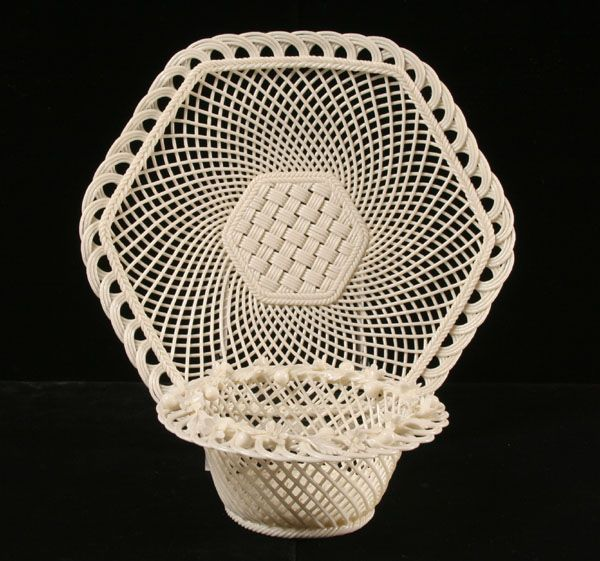 Belleek Open Basket-Weave Creamware, Plate with Floral Decoration on Rim and Bowl