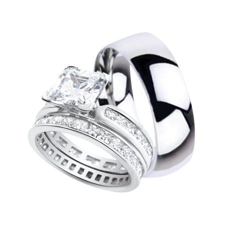 ecce024c609adf Buy His and Hers Wedding Ring Sets Matching Silver Titanium Wedding Bands  for Him Her 6/6 at Walmart.com