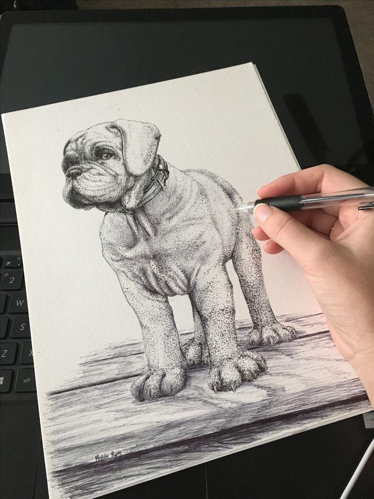 #workinprogress #blackandwhite #inkmaster #pointalism #penandink #masterwork #puppy #dog #bullmastiff #blackandwhite #details #wooddeck #realistic #realism #working #drawing #commission #art #robinlyn #action #studio #actionartstudio