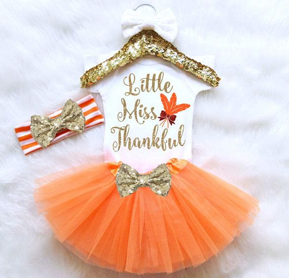 Thanksgiving Baby Outfit Set. ♥ ♥ ♥ ♥ ♥ ♥ WELCOME TO MOLLIE AND LOLA ♥ ♥ ♥ ♥ ♥ ♥  ♥ What Is Included ♥ This set includes (if selected from drop-down menu): 1 sequin bow headband 1 baby snap bottom bodysuit with design 1 baby tulle tutu  ♥ Headband Info ♥ - Headband is recommended for