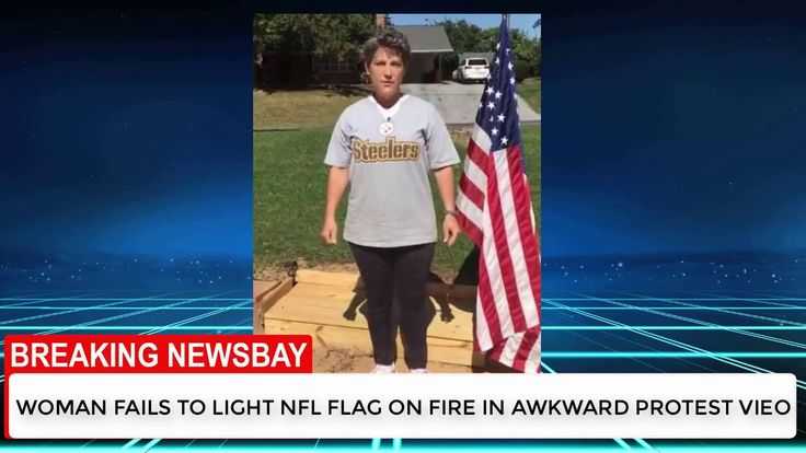Woman fails to light NFL flag on fire in awkward protest video - BREAKIN...