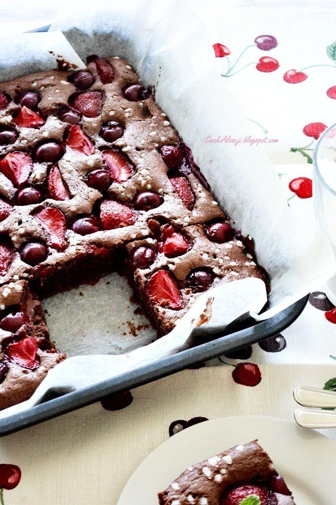 cherry & strawberry chocolate cake