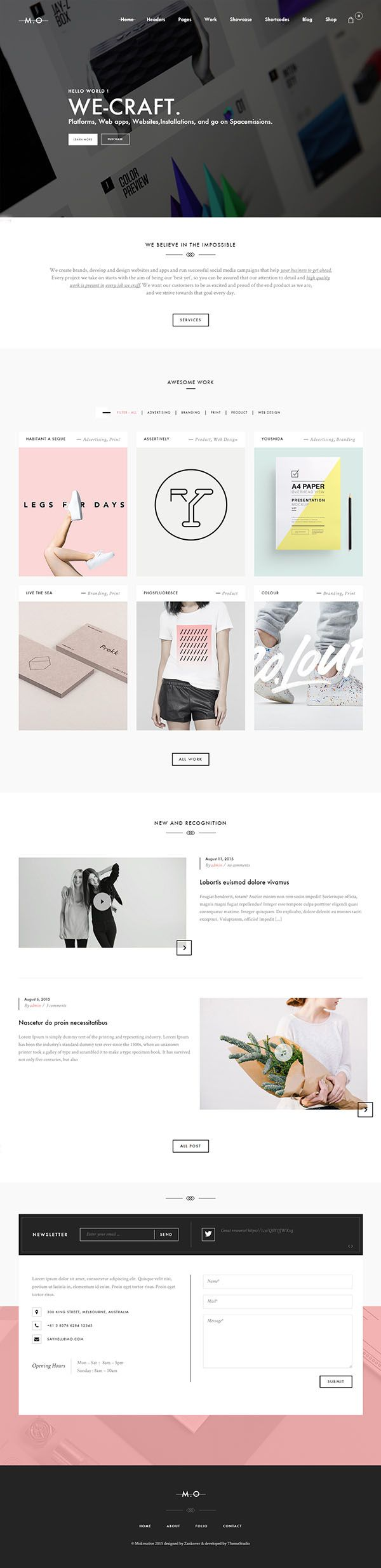 MO – Creative Multi-Purpose WordPress Theme // MO – is a super elegant WordPress theme for creatives. Create your graphic design portfolio or photography website with ease. Many home layout design and tons of shortcodes.