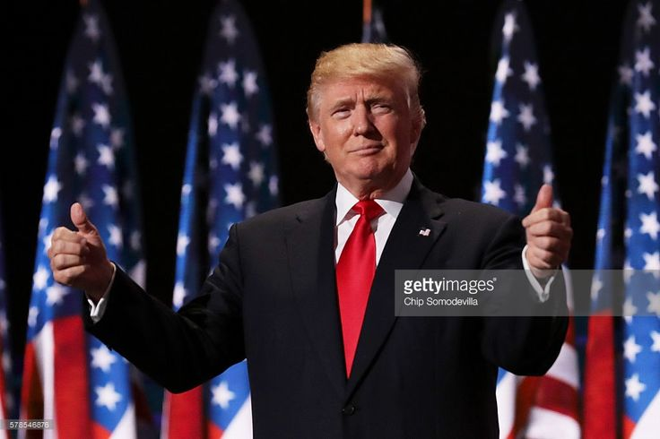 Republican presidential candidate Donald Trump gives two thumbs up to the crowd during the evening session on the fourth day of the Republican National Convention on July 21, 2016 at the Quicken Loans Arena in Cleveland, Ohio. Republican presidential candidate Donald Trump received the number of votes needed to secure the party's nomination. An estimated 50,000 people are expected in Cleveland, including hundreds of protesters and members of the media. The four-day Republican National…