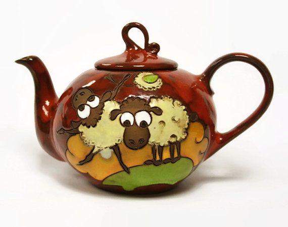 Glazed teapot ceramic teapot colorful teapot by MMceramicdesign