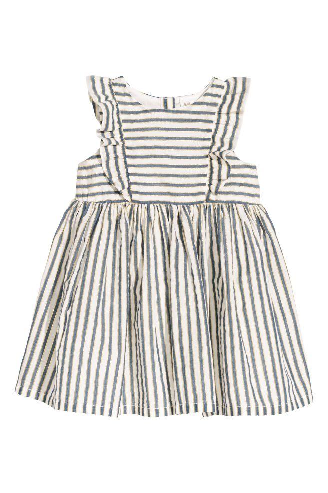 aef8f06dd5 Bawełniana sukienka w paski - Biały Złociste paski - Dziecko
