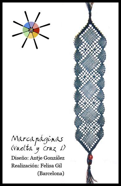 """""""Elegante marcapáginas"""", de la revista de bolillos Vuelta y Cruz Nº1. --- """"Elegant Bookmark"""", from N.1 of Twist and Cross bobbin lace magazine."""