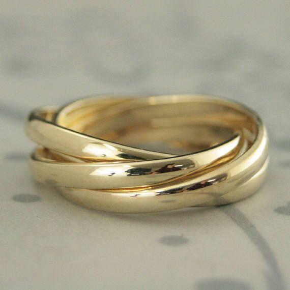 4 Band Rolling Ringrussian Wedding Band14k Gold Rolling Etsy In 2020 Handmade Gold Ring Rolling Ring Diamond Engagement Rings Vintage