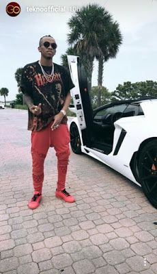 Tekno Poses With A Fly Lamborghini for A New Video Shoot (Photos)