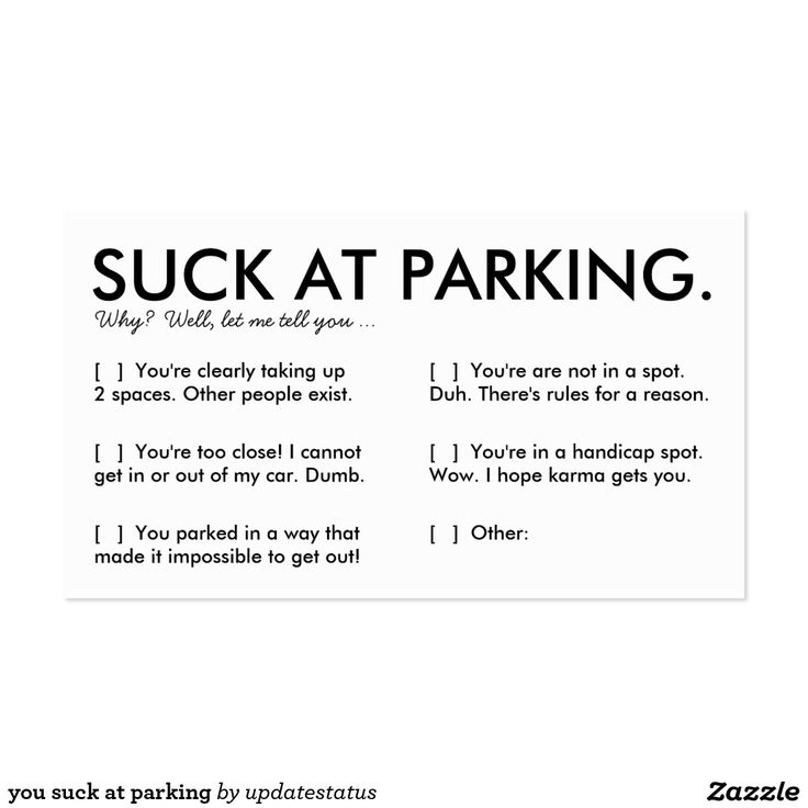 Outstanding You Suck At Parking Business Cards Ornament - Business ...