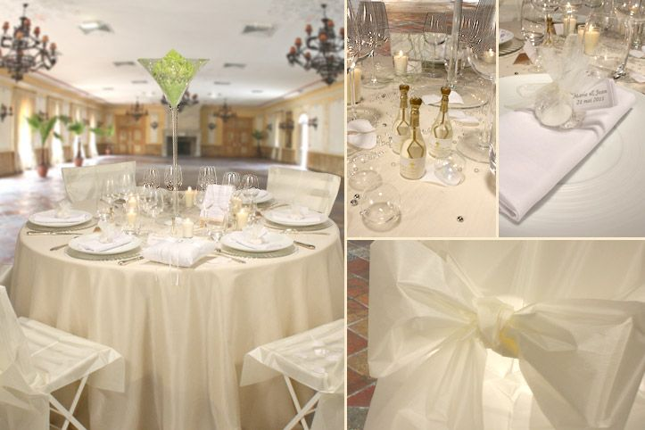 D corations d 39 ambiance table mariage champagne e options - Deco blanc et taupe ...