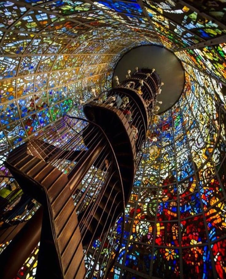 Stained glass spiral staircase, Japan