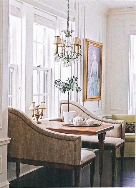 Great lines on the benches - doesn't cut off the line of sight in the room and adds a soft feminine flair.