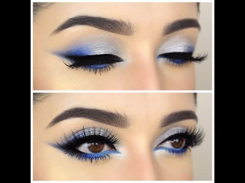 DRAMATIC BLUE AND SILVER TUTORIAL | FULL FACE - YouTube