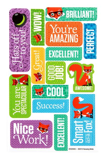 Motivate your students with these special stickers. Each sticker in this series features stunning patterns in the background, encouraging words, and adorable hipster foxes. Coordinate with your Foxtrot theme or expand your variety of motivational stickers.  Fill your classroom with a foxy new theme. The Foxtrot Collection is perfect for bringing in a new character driven classroom theme featuring hipster cartoon foxes kids will adore. Bring style and personality into your decorating theme.