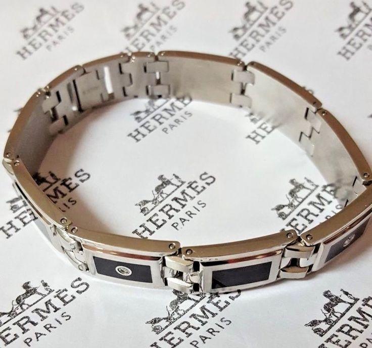 Mens Diamond Bracelet Stainless Steel Black Enamel 1/8 ct. t.w.by Stel S. Steel | Jewelry & Watches, Men's Jewelry, Bracelets | eBay!