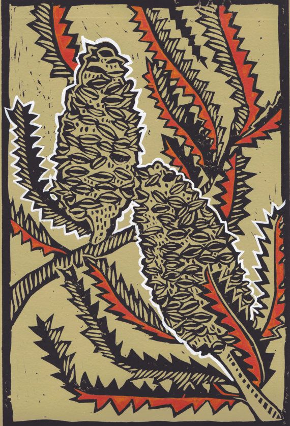 Orange Banskia Lino Cut by AnnabelBirtlesPrints on Etsy, £40.00