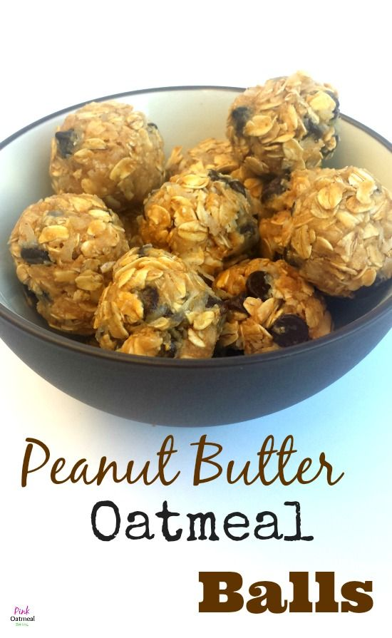 Peanut Butter Oatmeal Balls - 1 cup oatmeal, 1/2 cup honey, 1/2 cup creamy peanut butter, 1/4 cup ground flax meal, Mix all together, form balls, refrigerate.