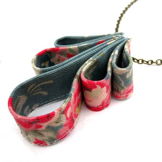 fabric sculpture necklace