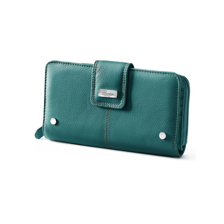 Buxton Westcott Leather Organizer Clutch Wallet, Dark Blue