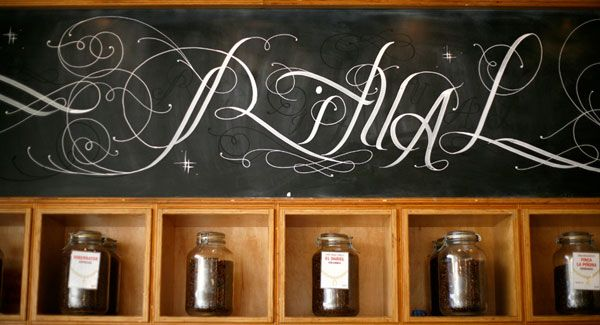 Ritual Coffee Roasters - Filigree chalk work done by Mickey Thomas at Ritual on Valencia Street