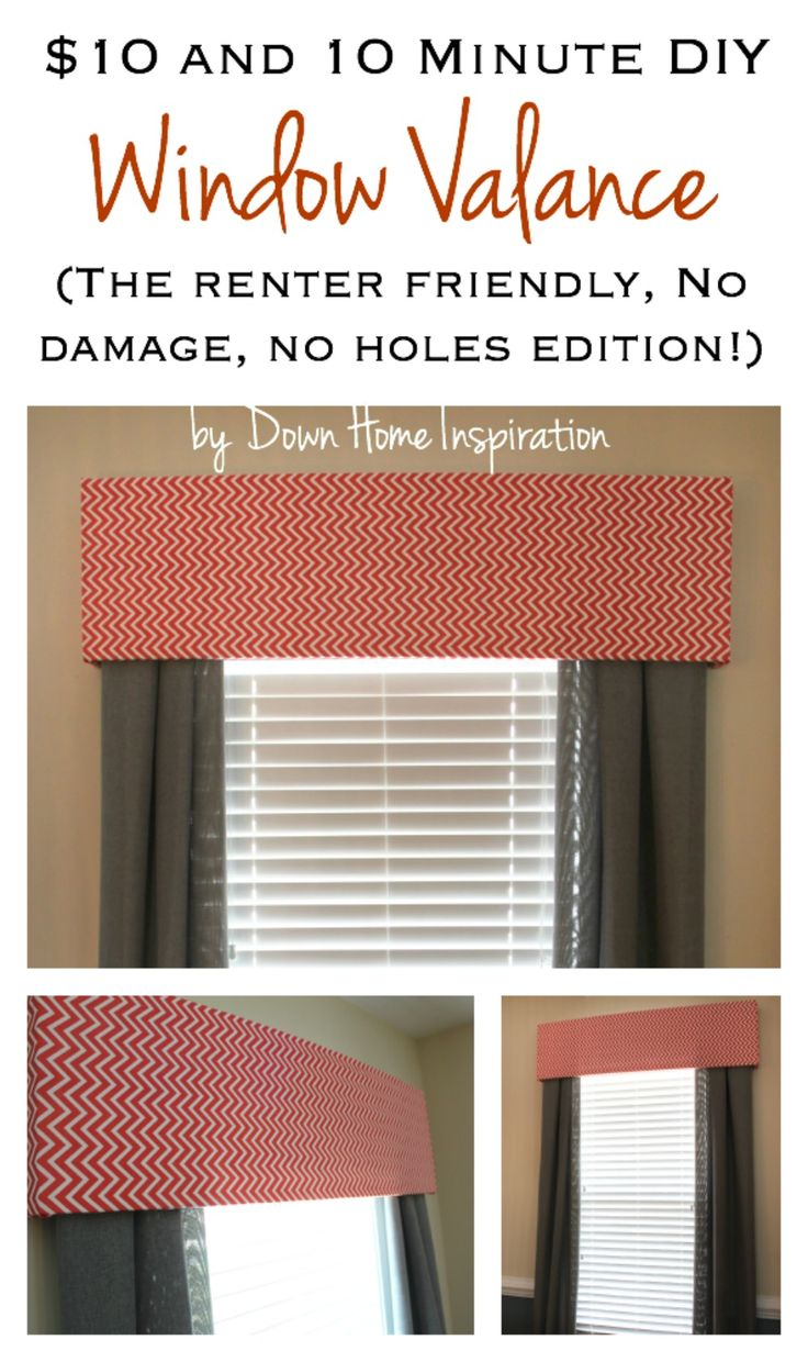 Renter Friendly, No Holes, No Damage $10 and 10 Minute DIY Window Valance - Down Home Inspiration
