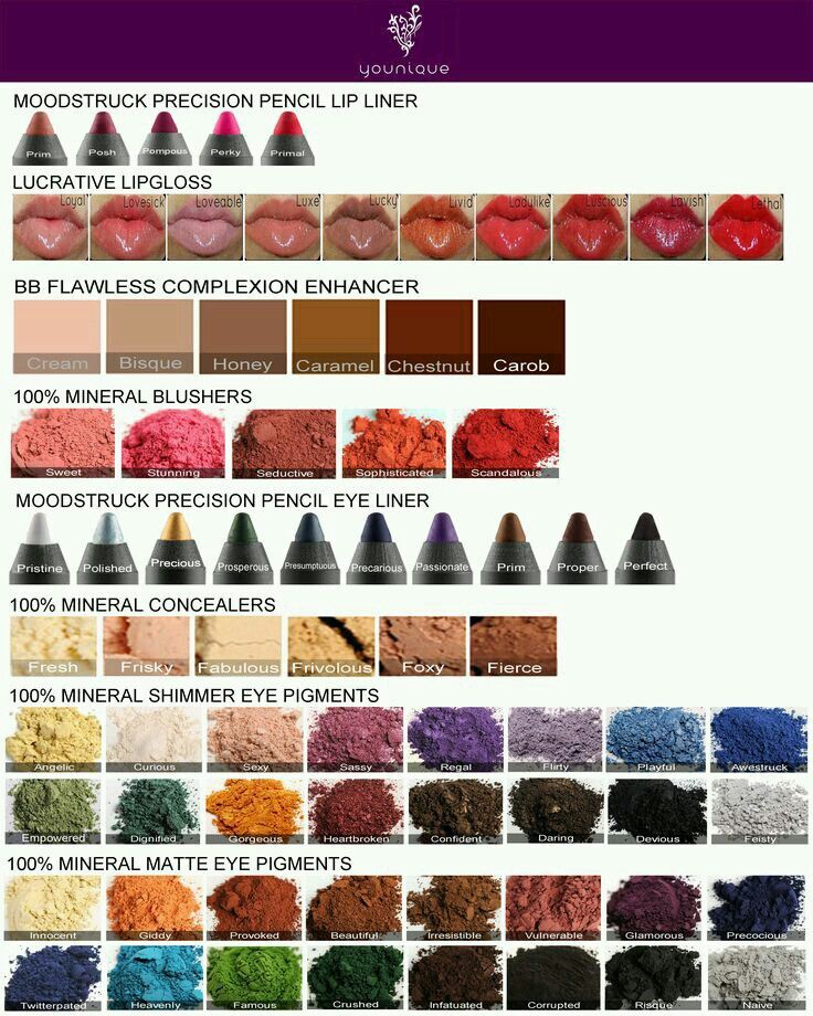 Younique color chart All natural company 14 Day LOVE IT guarantee