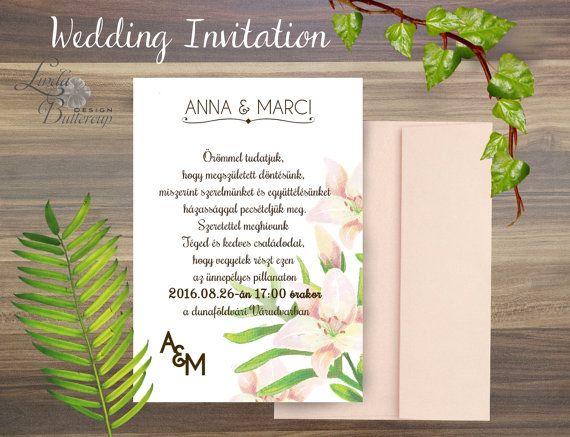 Lily wedding invitation Minimal wedding by LindaButtercupDesign