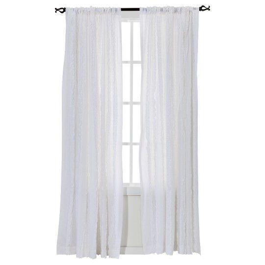 Rachel Ashwell Simply Shabby Chic Vertical Ruffle Window Panel White NWOP