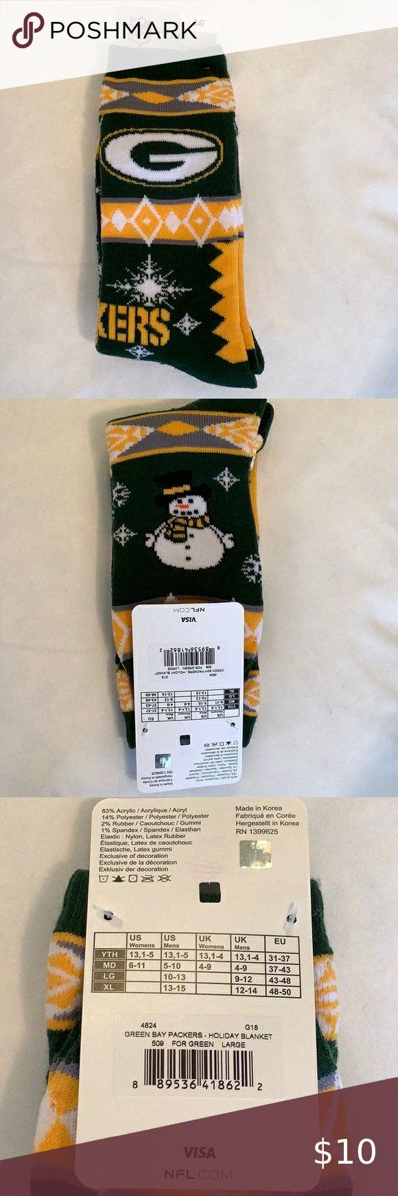 Nfl Green Bay Packer Holiday Socks In 2020 Nfl Green Bay Green Bay Packers Holiday Socks