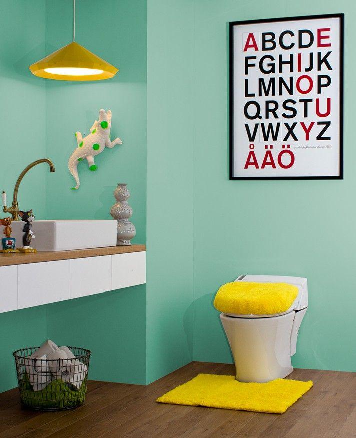 明るいトイレ 当店取り扱い商品を使ったトイレコーディネートです。  http://www.rakuten.ne.jp/gold/diaadia/TOILET/  #トイレ #壁紙 #グリーン #イエロー #カラー