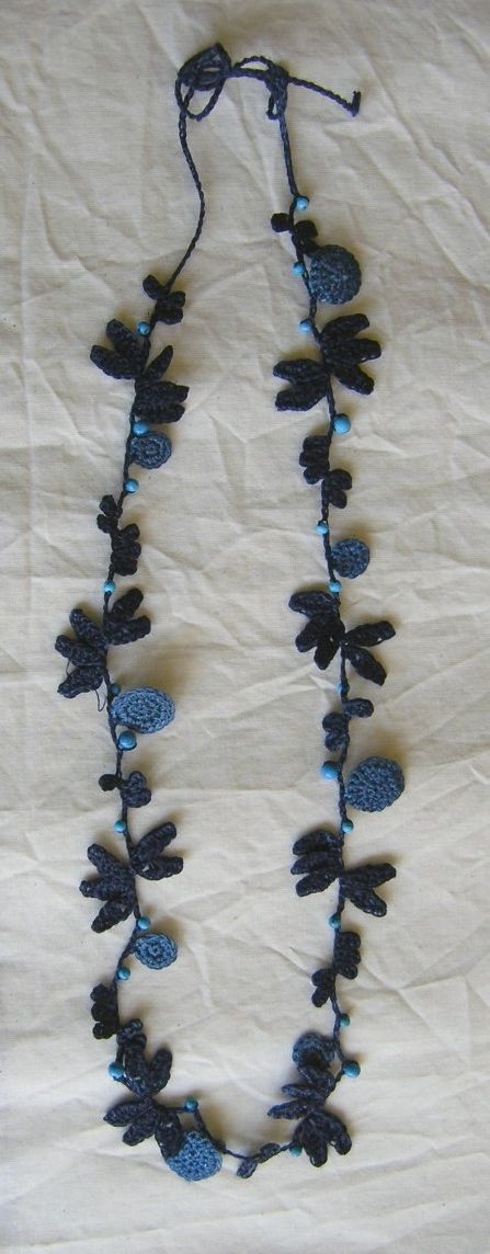 indigo #jewelry (could be a #bracelet if modified) lovely embellishments on a delicate chain.